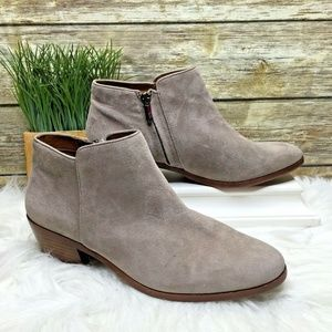 Sam Edelman Petty Taupe Gray Brown Suede Booties